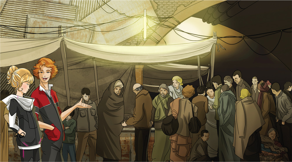 illustration futuriste, foule personage, souterrain