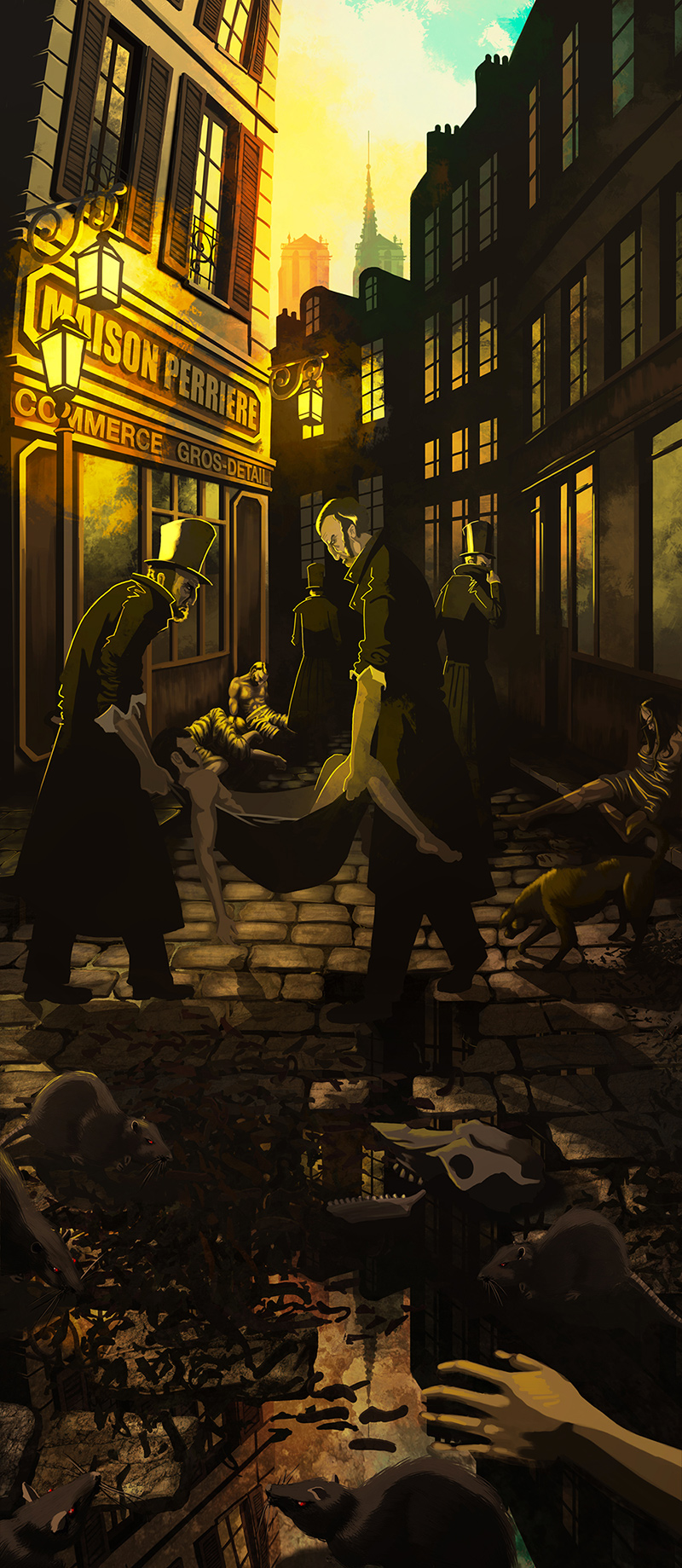 Illustration d'une scène d'épidémie