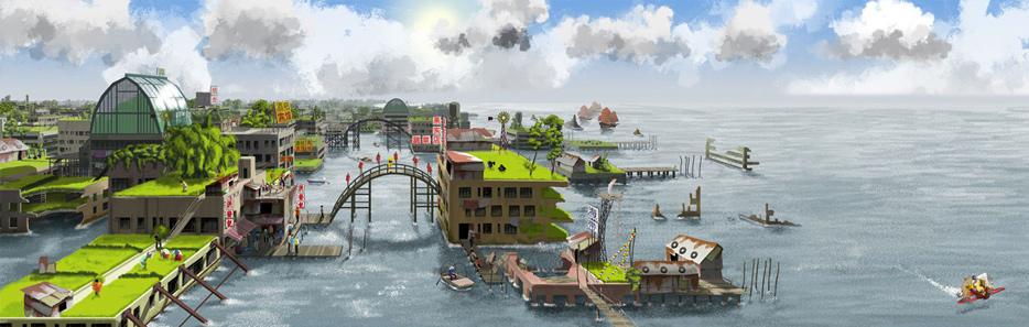 scene d'une ville submergé par les eaux