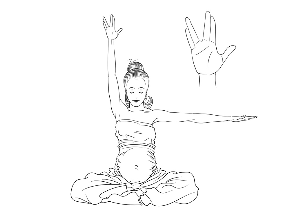 dessins d'une femme enceinte pratiquant le yoga