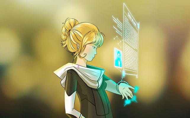 dessin numérique personnage futuriste